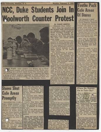 'NCC, Duke Students Join In Woolworth Counter Protest' in Clarence L. Harris Scrapbook, Chapters 8-9 (Item 1.58.368)