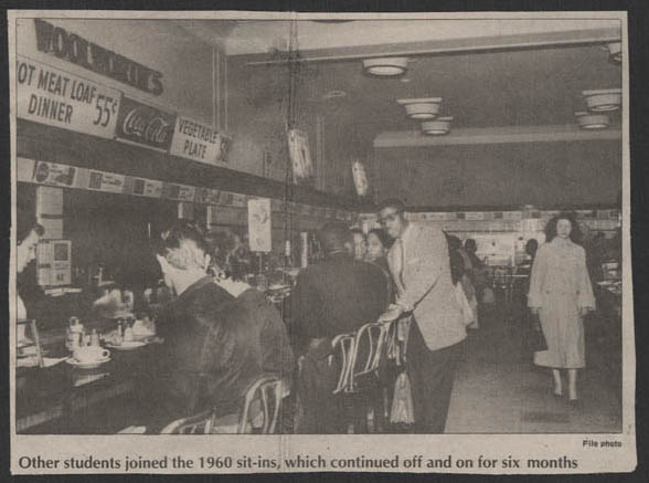 Woolworth's Lunch Counter, Feb 1960, reprinted in 'Daring act by four teenagers tumbles racial barriers' (Item 1.4.937)