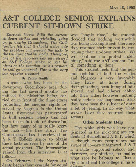 A&T College Senior Explains Current Sit-Down Strike, May 10, 1960 (Item 2.19.727)