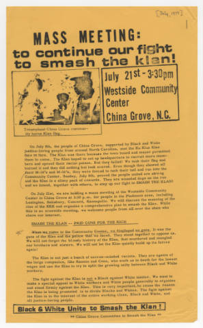 MASS MEETING: to continue our fight to smash the klan! (Item 4.66.1185)