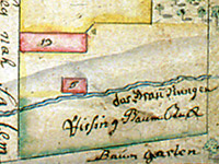 Portion of 1766 map of Bethabara from Moravian Archives, Winston-Salem, NC